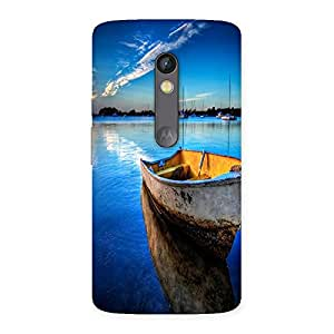 Ajay Enterprises Small Boat Blue Nature Back Case Cover for Moto X Play