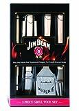Jim Beam Grillbesteck mit Holzgrifffläche im Geschenkset, 5 tlg.