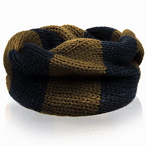 NSSTAR Fashionable Double Color Baby Infant Kids Toddler Unisex Boys Girls Weave Knitting Warm Neck Warmer with 1PCS Free Cup Mat Color Ramdon (Brown) - 1