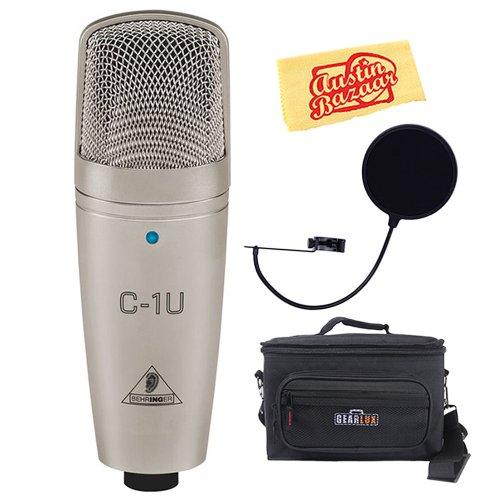 Behringer C-1U Usb Studio Condenser Microphone Bundle With Mic Bag, Pop Filter, And Polishing Cloth