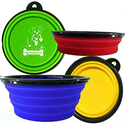 Mr. Peanut's Collapsible Dog Bowls, Set of 4 Colors, Dishwasher Safe BPA FREE Food Grade Silicone Portable Pet Bowls, Foldable Travel Bowls for Feed & Water on Journeys, Hiking, Kennels & Camping (Dishwasher Color compare prices)