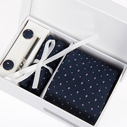 Zakka Republic Mens Business Tie, Cufflinks, Pocket Square and 3