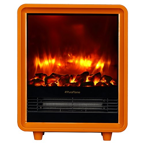 Puraflame Octavia Orange 11 Inch Mini Portable Fireplace Heater, Eco Saving, High Efficiency Heating Elements, 9 Selected Temperature Settings, 750W/1500W