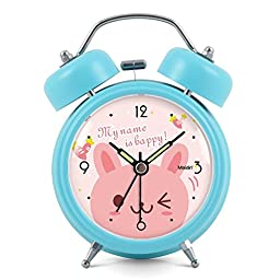 3 inches Non-ticking Silent Quartz Bedside Twin Bell Alarm Clock with Nightlight and Noctilucent Pointer, 90*120*50mm, sky blue
