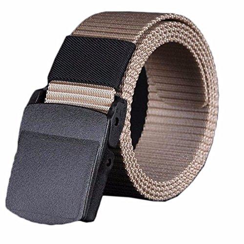 Vovotrade® Uomini Selvaggi Canvas Belt ipoallergenico metallo libero di plastica automatica Fibbia (Cachi)