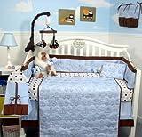SoHo Blue Stitch Traveler Baby Infant Crib Nursery Bedding Set 10 pcs