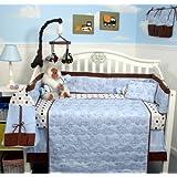 SoHo Blue Stitch Traveler Baby Infant Crib Nursery Bedding Set 10 pcs ~ SoHo Designs