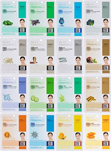 Dermal Korea Collagen Essence Full Face Facial Mask Sheet, 16 Combo Pack (Etude House Mask compare prices)