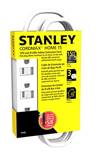 Stanley 31142 Cordmax Home 15 Grounded Low Profile 3-Outlet Indoor Extension Cord, 15Ft White, (Low Profile Grounded compare prices)