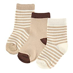 Hudson Baby Touched By Nature Organic Socks 3 Pack, Tan, 0-6 Months