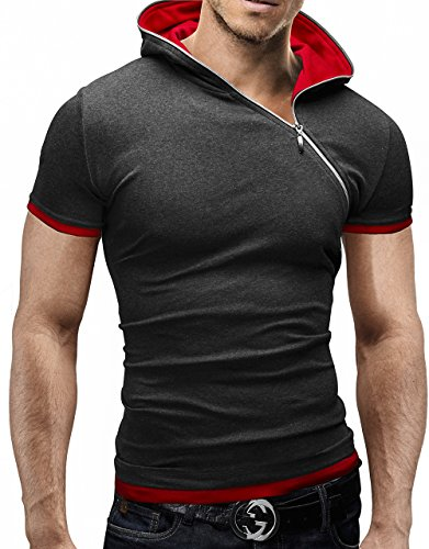 MERISH Kurzarm Hoodie Reißverschluss Shirt Sleeve 70 Anthrazit-Rot M thumbnail