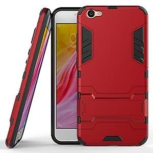 Gps Case Cover [ Armor Series] Hard Slim Hybrid Kickstand Phone Cover Case For For VIVO V5 (RED)