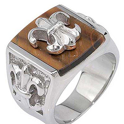 18mm Stainless Steel Fleur De Lis Brown Stone Men's Wedding Band SPJ (Men Fleur De Lis Ring compare prices)