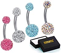 Shamballa Belly Button Rings Piercing with 1 Belly Ring Retainer from BodyJ4You