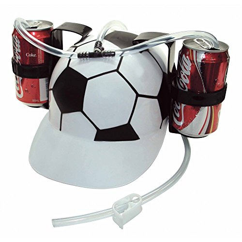 [Old Burger Soda Cola Beer Hat Cap Drinking Helmet with Straw for Party Game(Soccer Football)] (Drinking Hats With Straws)
