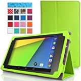 MoKo Google New Nexus 7 FHD 2nd Gen Case - Slim Folding Cover Case for Google Nexus 2 7.0 Inch 2013 Generation Android 4.3 Tablet, GREEN (with Smart Cover Auto Wake / Sleep Feature)
