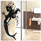 Mermaid Bathroom Wall Decal Sticker Living Room Stickers Vinyl Removable Black Color High 120cm