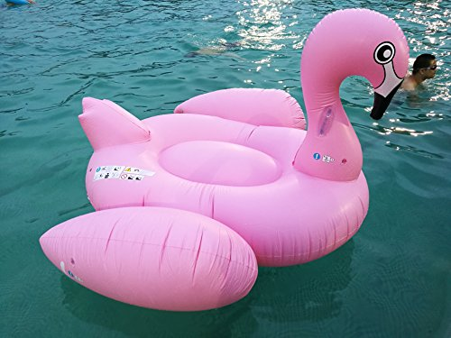 Renjie Flamingo Inflatable Pool Float Giant Swimming Summer Fun Games Large Ride on Blow Up Pool Large Floatie Lounge for Adults and Kids 80IN