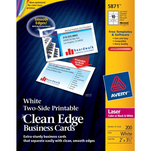 Avery Printable Two-Side Clean-Edge Business Cards for Laser Printers, White, Pack of 200 (05871)