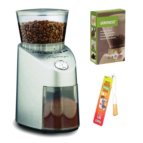 Capresso 565 Infinity Stainless Steel Conical Burr Grinder + Coffee Grinder Dusting Brush + 3-Pack 35G Grindz Coffee Grinder Cleaner