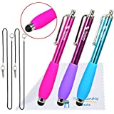 "The Friendly Swede Bundle of 3 GRIPPY Universal Capacitive Touch Screen Stylus Pens + 2 x 15"" Lanyards/Strings + Cleaning Cloth (Hot Pink/Light Blue/Purple with Grip)"
