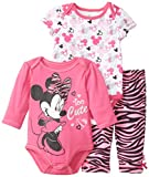Disney Baby Baby-Girls Newborn Minnie Mouse 3 Piece Set, Pink, 6/9 Months