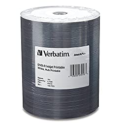 Verbatim 4.7 GB up to 16x DataLifePlus White Inkjet Hub Printable Recordable Disc DVD-R 100-Disc Tape Wrap 97016
