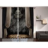 Ambesonne Retro Vintage Decor Ballroom Crystal Chandelier Wooden Planks Wedding Ceremony Artwork for Bedroom and Living Room Curtains 2 Panels Home Window Treatment, 108 X 90 Inches Brown Gray Black