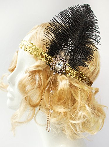 Handmade-Gold-Flapper-Headpiece-1920s-Flapper-Headband-Gold-Band-Black-Feather-Headband