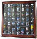 41 Shot Glass Display Case Holder Cabinet Wall Rack with Glass Door, Walnut Finish (SC03-WA)