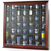 41 Shot Glass Display Case Holder Cabinet Wall Rack with Glass Door Walnut Finish (SC03-WA)