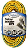 Coleman Cable 02439 14/3 100-Foot Push-Lock SJTW Locking Extension Cord (Yellow/Blue)