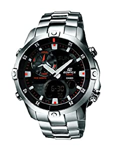 Casio Edifice Men's Quartz Watch with Black Dial Analogue - Digital Display and Silver Stainless Steel Bracelet EMA-100D-1A1VEF