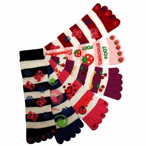 Butterfly Berry Cherries Lady Bug 6 Pack Toe Socks