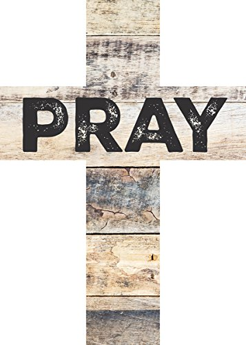 PRAY Distressed Look 7 x 5 Wood Wall Art Cross Plaque