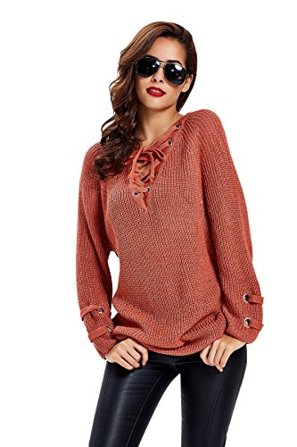 Apparel Women's Long Sleeve Lace Up Knit Pullover Sweater Dress Top