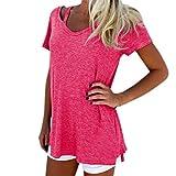 YANG-YI Clearance, Hot Women Fashion Spring Summer V-Neck Short Sleeve T-Shirt Casual V-Neck Tee Tops Blouse