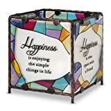 Shine On Me By Pavilion Glass Candle Holder Happiness Sentiment 4 By 4-Inch