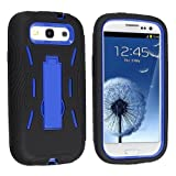 Samsung© Galaxy S 3 III / S3 / i9300 i-9300 Hybrid Armor Blue Hard Case and Black Silicone Skin Dual Combo 2-in-1 with Kickstand / Kick Stand Snap-On Protective Cover Cell Phone