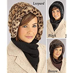 Collections Etc Faux Fur Winter Hat With Attached Scarf