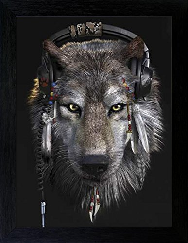 3D Lenticular Picture Poster Artwork Unique Wall Decor Holographic Pictures Optical Illusion Flipping Images (With Frame, Indian Wolf) (Cool Artwork compare prices)