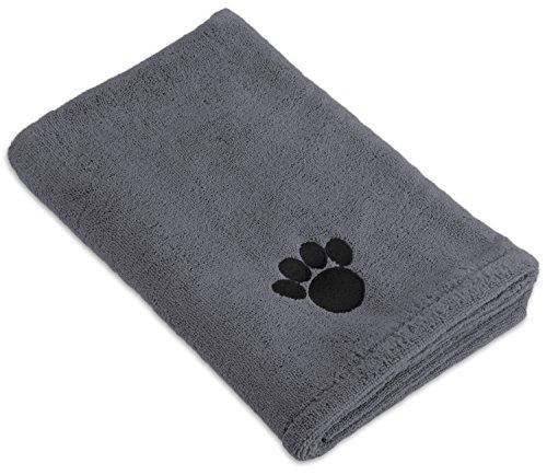 DII Bone Dry Microfiber Dog Bath Towel with Embroidered Paw Print, Gray