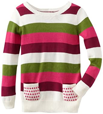 Design History Little Girls' Multi Stripe Sweater, Pearl/Jellybean/Green, 6X