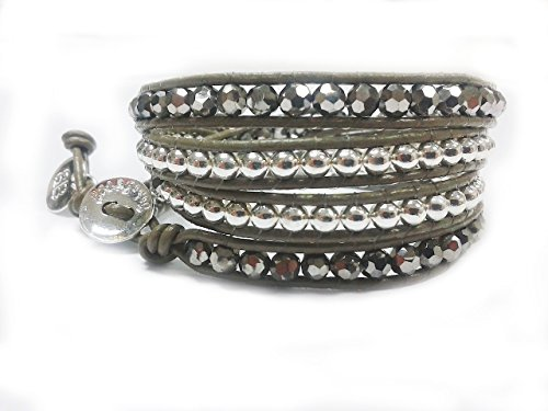 Boho-Betty Olive Twist Quadruple Olive leather wrap bracelet intwined with a combination of silver orbs and mirrored crystals.