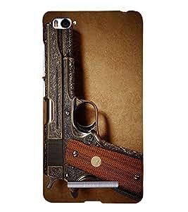 Fuson Premium Back Case Cover GUN With Brown Background Degined For Xiaomi Redmi Mi4i::Xiaomi Mi 4i