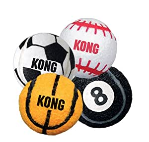 Kong Air Dog SPORT BALLS Thick Rubber Tennis Material Dog Fetch Toy Med (ABS2)