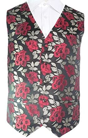 Men's Floral Black And Red 100% Silk Vest SZ : S 91H