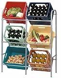 Flaschenkastenregal für 6 Kisten Gemüsekistenhalter Kistenregal Regal Flachenkastenständer