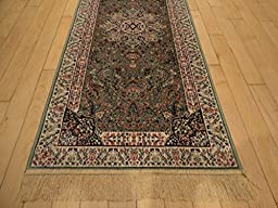 Luxury Green Rug Silk Traditional Rug Persian Isfhan Design 8x12 Area Rug 2x4 Entrance Rug 2x8 Hallway Runner Green Area Rugs Luxury Dining Room Carpet 5x8 Rugs (2\'x4\' Kitchen/ Bath /door Mat)