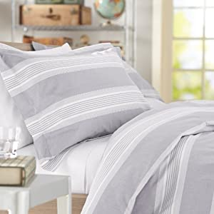 Pinzon Yarn-Dyed Stripe Duvet Set - King, Grey